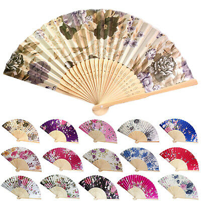 Vintage Bamboo Folding Hand Held Flower Fan Chinese Dance Party Pocket Gifts NT