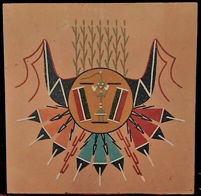 """Vintage Native American Indian Sand Painting of CHICACABRA SUN  SIGNED """"YAZZIE"""""""