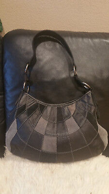 Lucky Brand Leather Suede Patchwork Purse Vintage Inspired Black Gray Hippie