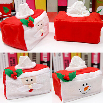 Christmas Rectangle Tissue Box Cover Paper Napkin Holder Storage Case Home Decor