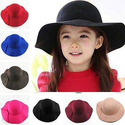Classic Kids Girls Wide Brim Wool Felt Bowler Fedora Cloche Floppy Beach Sun Hat
