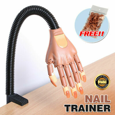 Flexible Nail Art Practice Training Model Trainer Hand with100 Refit Replace Tip