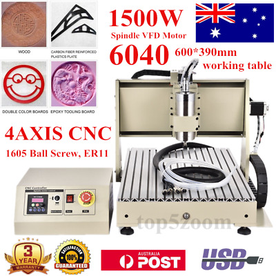 USB! 4Axis 1.5KW 6040 CNC Router Engraver 3D Mill/Carving Machine + MACH3 LAPTOP