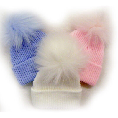 Newborn Baby Girl Boy Faux Fur Bobble Pom Pom Hat Pink White Hats Gift 0-6 Month