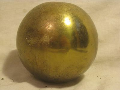 """vintage sphere ball orb part hollow heavy metal approx. 3.75"""" cast brass"""