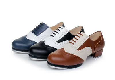 Unisex Fashion Cowhide Tap Dancing Soft Outsole Youth Kids Adult Dancing Shoes