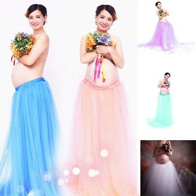 Pregnant Women Tulle Tutu Long Skirt Maternity Gown Photography Props Maxi Dress