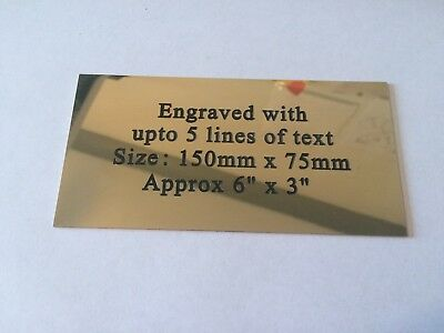"""Solid Brass Plaque size 150 x 75mm approx 6"""" x 3"""" Engraved polished memorial"""