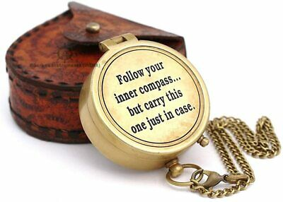 Follow your inner... Solid Brass Compass with Case