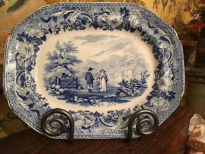 Antique English Blue & White Transferware Pottery Platter C1820 Rural Scenery