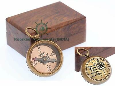 Not All Solid Brass Compass with Wooden Box