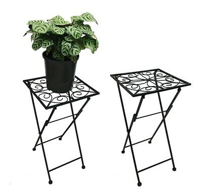 French Country Vintage Inspired Wrought Iron BLACK Side Table Pot Plant Holde...