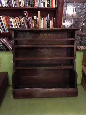 Late 18th Century English Oak Primitive Wall Hanging Plate Rack Rough Hand Hewn