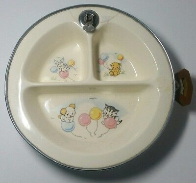 Vintage Excello Pottery Divided Baby Plate Dish Warmer - Bunny Puppy Kitten Bear