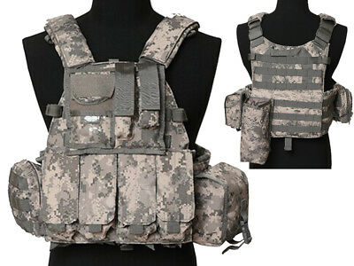 Tactical Multi Attack Molle Combat Vest Magazine Pouch Airsoft Paintball ACU