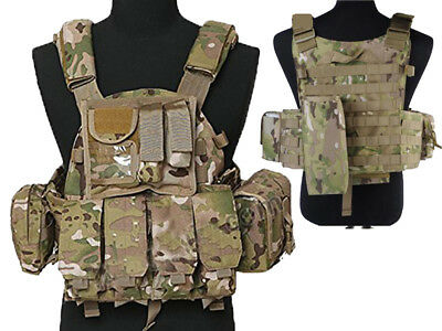 Tactical Multi Attack Molle Combat Vest Magazine Pouch Airsoft Paintball CP