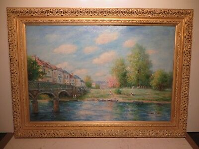 """24x36 original decretive oil painting by Edouard Cortes of """"French River Scene"""""""