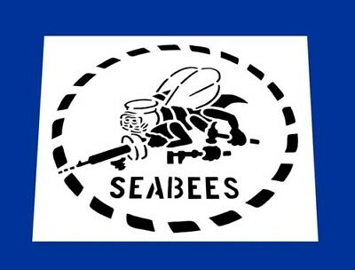 """USN * UNITED STATES NAVY SEABEES STENCIL  *FREE USA S&H* 7"""" x 7"""" (Inches)"""