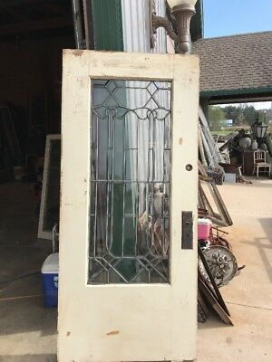 Antique Restored Beveled Blast Entrance Door 35.75 X 79.75