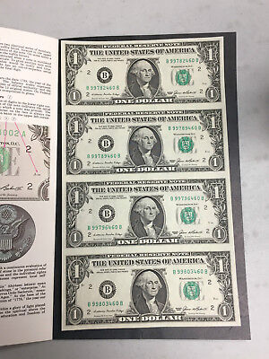 Sheet Of 4 Uncut Series 1985 Federal Reserve One Dollar Notes