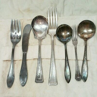 7 Pcs Vtg Silverplate Flatware Mix Lot Simeon George H.Rogers Spoon Fork Knife