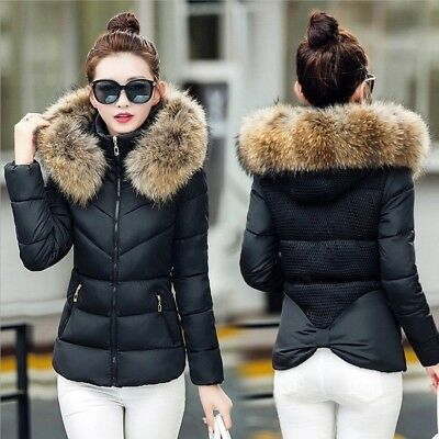 Ladies Quilted Padded Puffer Bubble Fur Collar Warm Thick Womens Jacket Coat