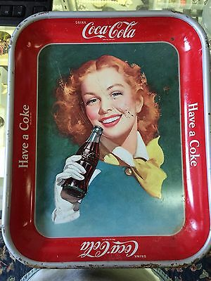 Authentic Original 1948 Coca Cola Coke Tray w Red Head Hair Girl Yellow Scarf