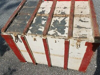 Large Antique Primitive Blanket Chest Wood Storage Trunk Orig. Red White Paint