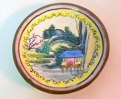 Miniature CHINESE Antique Enamel on Brass Plate Hand Painted Qing