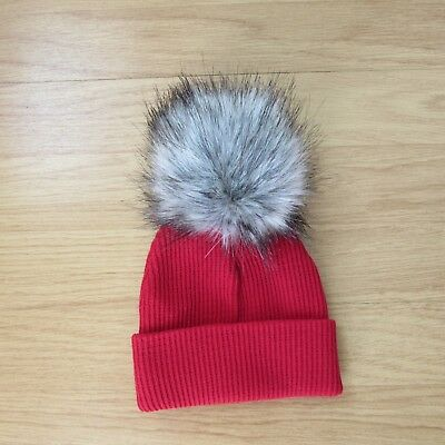 Aw17 Baby Fur Pom Hat Ribbed By Kinder Boutique Blue, Cream, Red Pink 0-12 Month