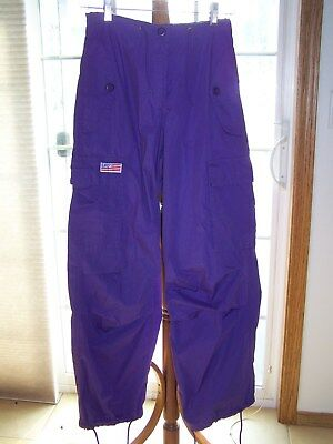 UFO Dance Rave PARACHUTE PANTS Cargo Hiphop Purple Drawstring Womans Size XS EUC