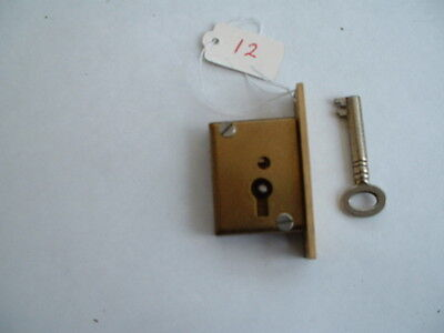 """1 x Old  solid brass mortise Lock & key Unused Old Stock  2 """" x 1 1/4"""" x 1/2"""""""