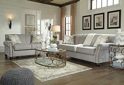 CARSON Traditional Living Room Gray Chenille Fabric Sofa Couch Loveseat Set  NEW