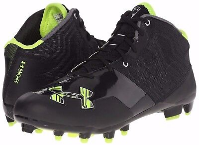 NEW MENS UNDER ARMOUR BANSHEE Mid sz 8 BLACK LIME Lacrosse Football Cleats