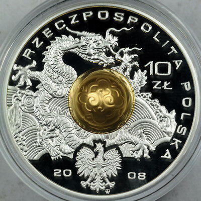 2008 Poland 10 Zlotych Beijing Olympic Games sterling silver 3D coin in capsule