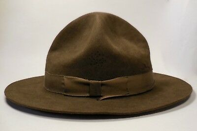 Vintage Boy Scout Wool Felt Hat-Deep Olive Green-All Original Wwi Style