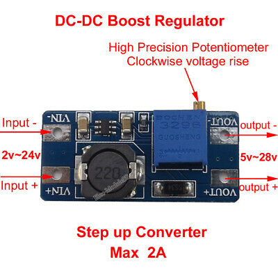 DC 3-24V to 5V-28V 9V 12V 24V 2A Adjustable Boost Step-Up Converter Power Module