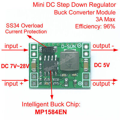 5V 3A Mini Step Down Power Supply Module DC-DC Buck Converter Input 7~28V 9V 12V