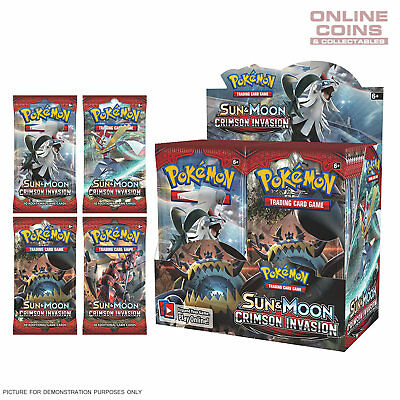 POKEMON TCG Sun & Moon CRIMSON INVASION 4 x10 Card Booster Packs 40 CARDS TOTAL