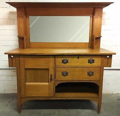 Arts and Crafts Inlay Sideboard Quartersawn Tiger Oak Copper Hardware