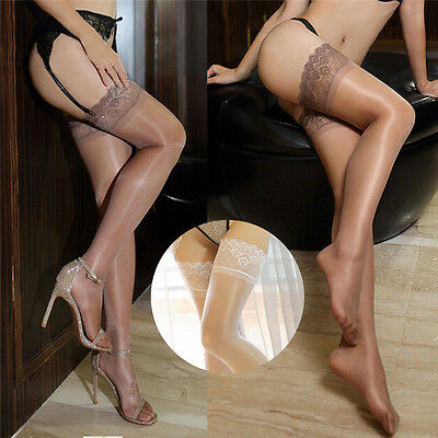 Women Thin Tights Glossy Oil Shiny Pantyhose Thigh-Highs Stockings Lingerie Pop