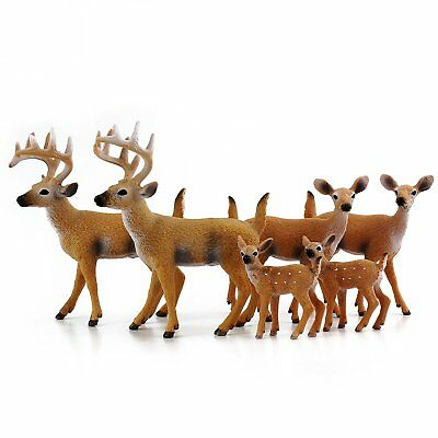 White-Tailed Deer Family Figurines 6-Figure Set; 2 Bucks, 2 Does, 2 Fawns 2 to