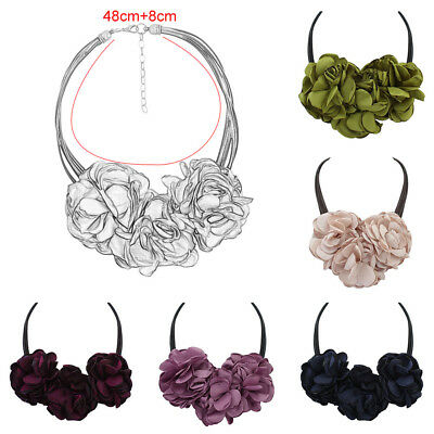 Women Lady Extra Large Flower Pendant Chain Necklace Collar