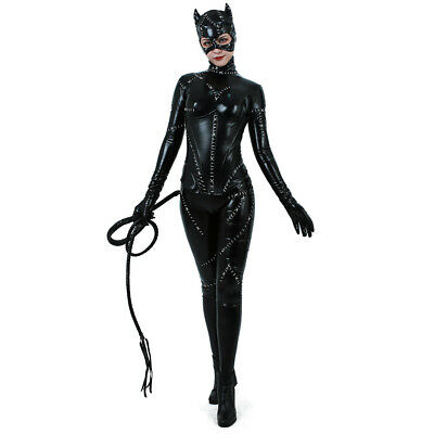 Catwoman Costume Adult Sexy Suit Batman Returns Cosplay Black Catsuit