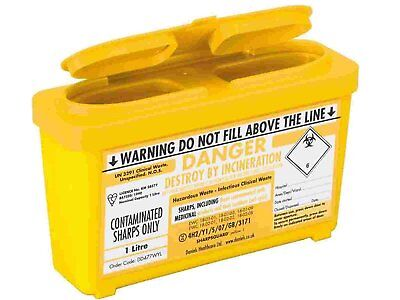 1 L Sharps / Needle Bin Box, Medical Waste, Lightweight Compact travel 1000 ml