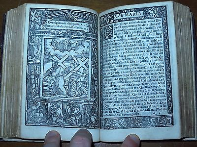 AMAZING BOOK OF HOURS -1573- Rosary of the Blessed Virgin Mary 180 WOODCUTS ILL.