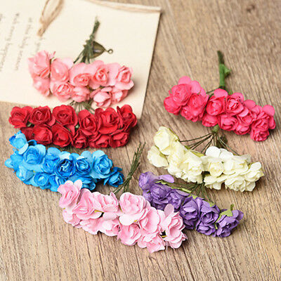 12 Paper Rose Buds Wired Stem Mini Artificial Flower Bouquet Card Scrapbooking