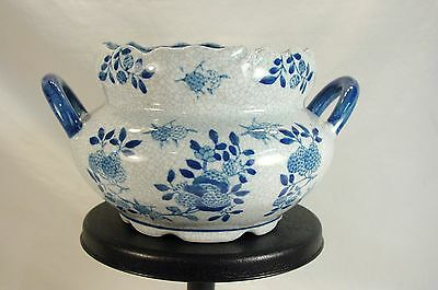 Vintage Asian Porcelain Blue & White Crackle Serving Rice Soup Bowl with Handles