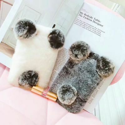 Warm Fur Panda Cute Cool Winter Hot 3D Cartoon Plush Phone Case Cover For iPhone