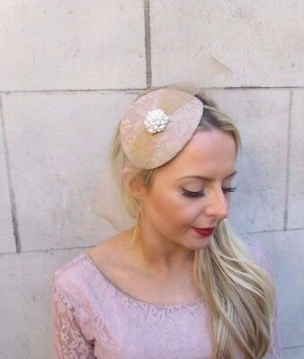Cream Beige Nude Bow Fascinator Teardrop Races Wedding Headband Headpiece 4372